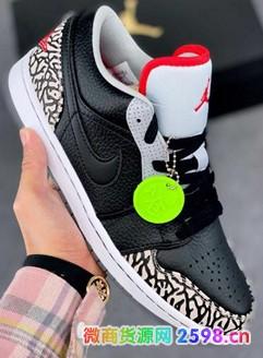 Air Jordan 1 Low AJ1低帮黑爆裂纹